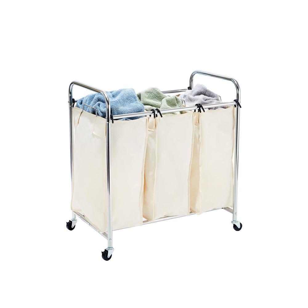 Mobile 3-Bag Heavy-Duty Laundry Hamper Sorter Cart