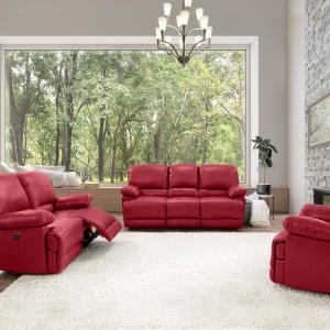 CorLiving 3pc Plush Power Reclining Red Bonded Leather Sofa ...
