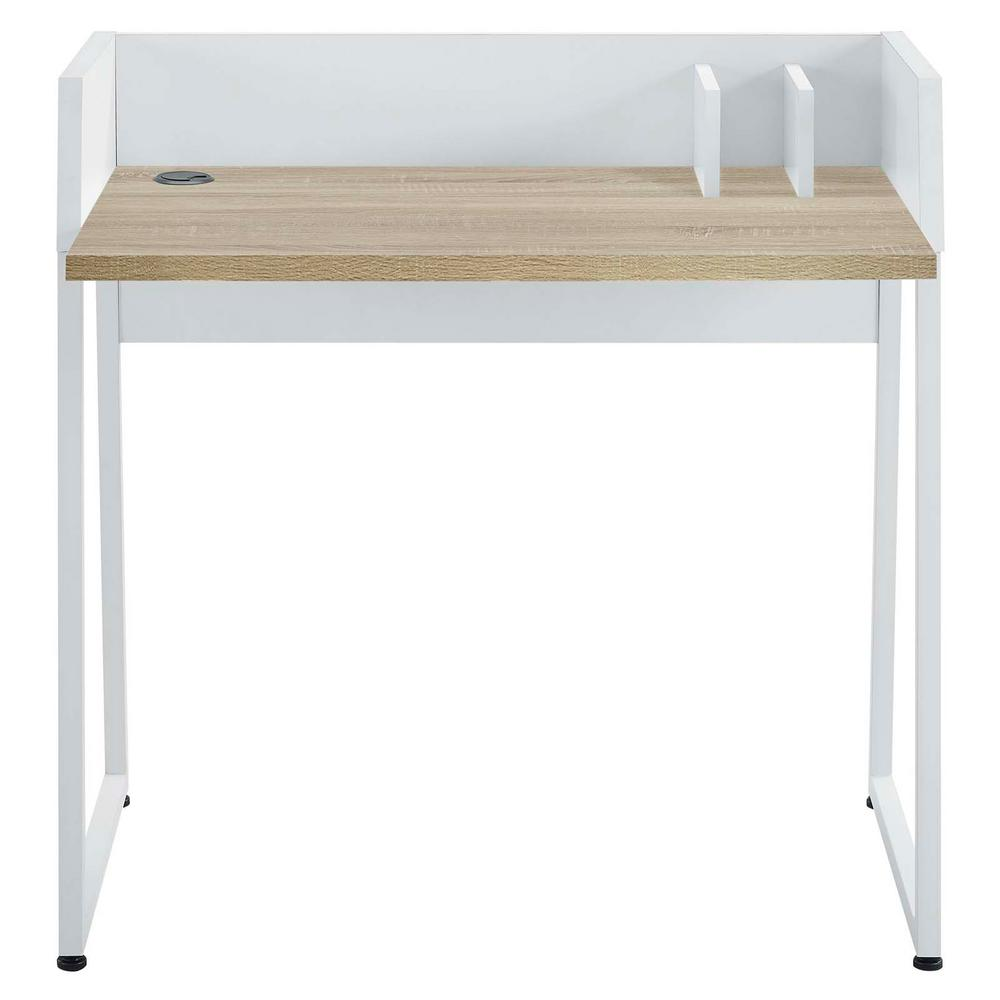 Relay White Natural Wood Writing Desk