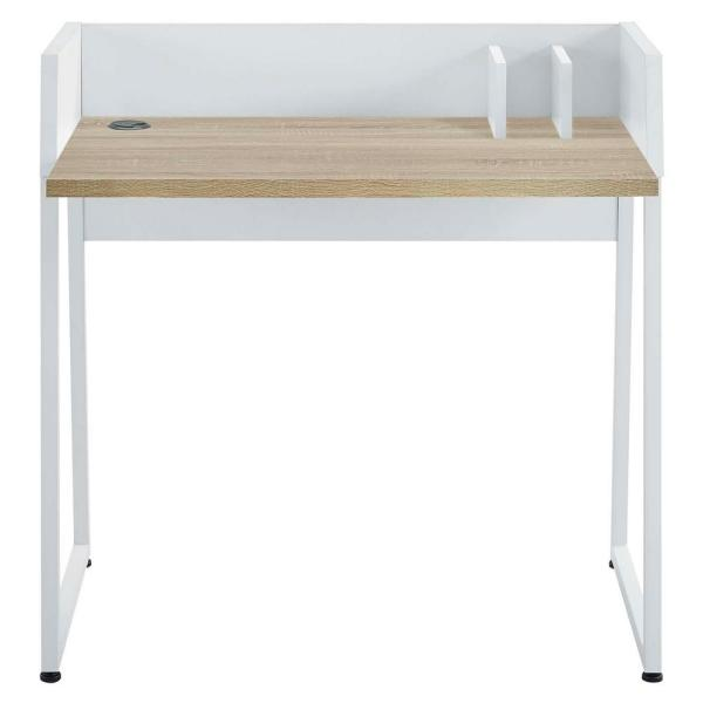 MODWAY Relay White Natural Wood Writing Desk EEI-2788-WHI-NAT