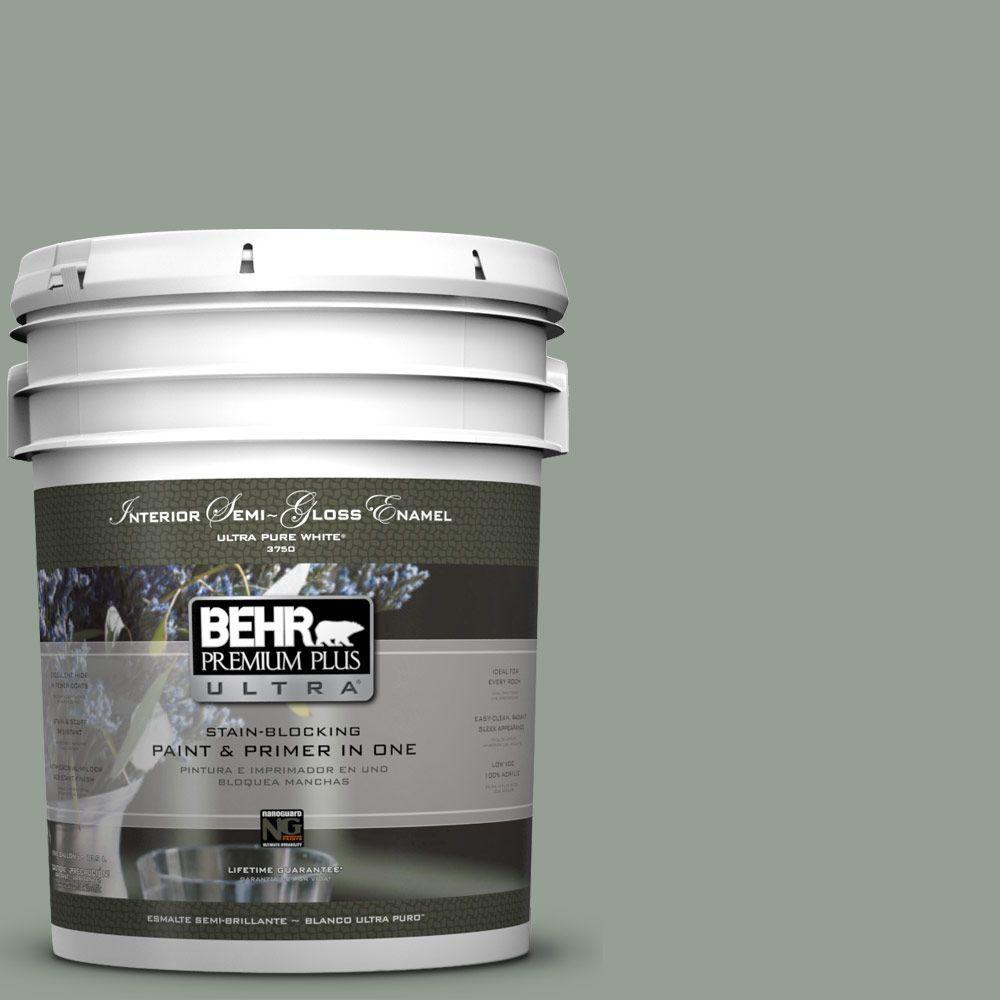 BEHR Premium Plus Ultra 5-gal. #N400-4 Forest Path Semi-Gloss Enamel Interior Paint