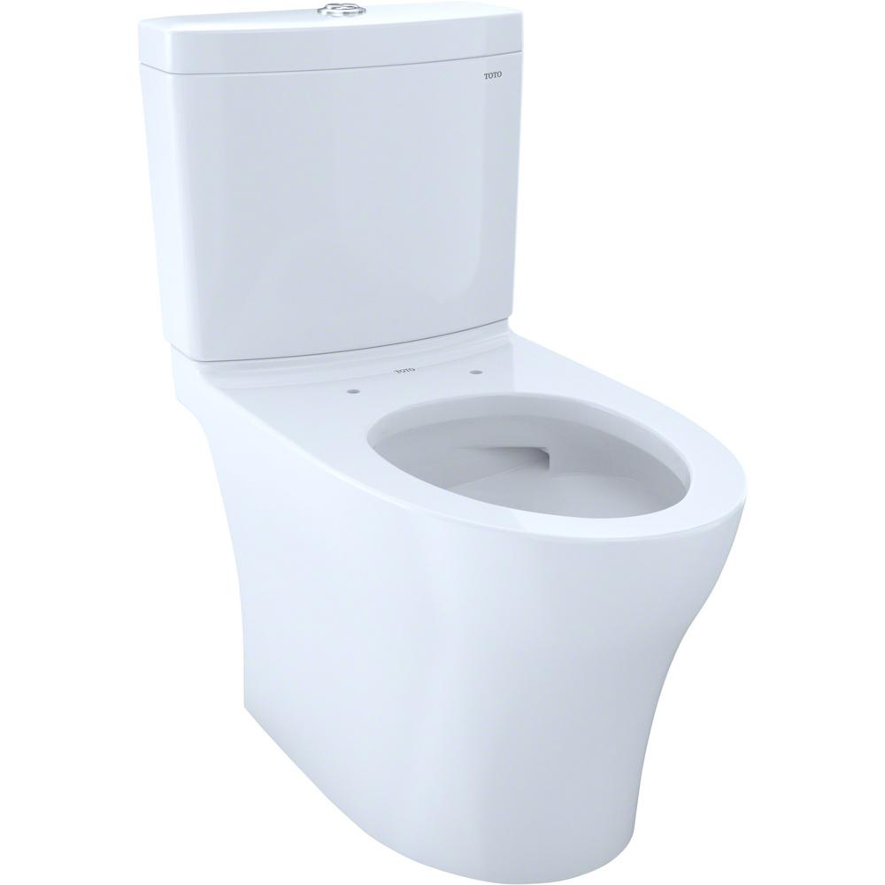 TOTO Aquia IV 2-Piece 1.28 and 0.8 GPF Dual Flush Elongated Skirted Toilet with CeFiONtect in Cotton White, Seat Not Included