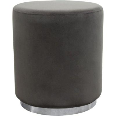 Gray and Chrome Velvet Upholstered Round Accent Ottoman with Metal Base 20 in. H x 17 in. W x 17 in. D