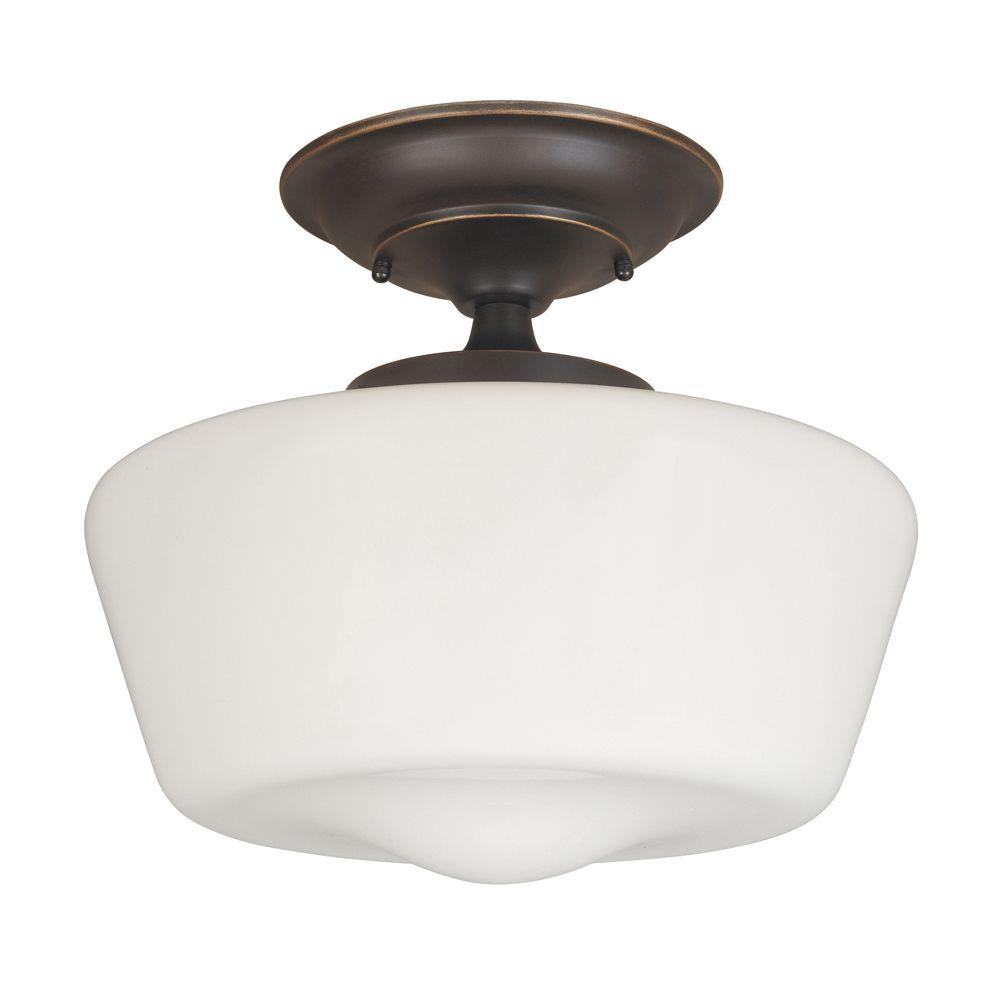 World Imports Luray 12 in. 1-Light Oil-Rubbed Bronze Semi-Flushmount Schoolhouse White Glass Shade