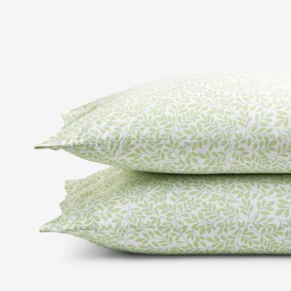 Company Cotton Mini Leaf Green Percale Standard Pillowcase (Set of 2)