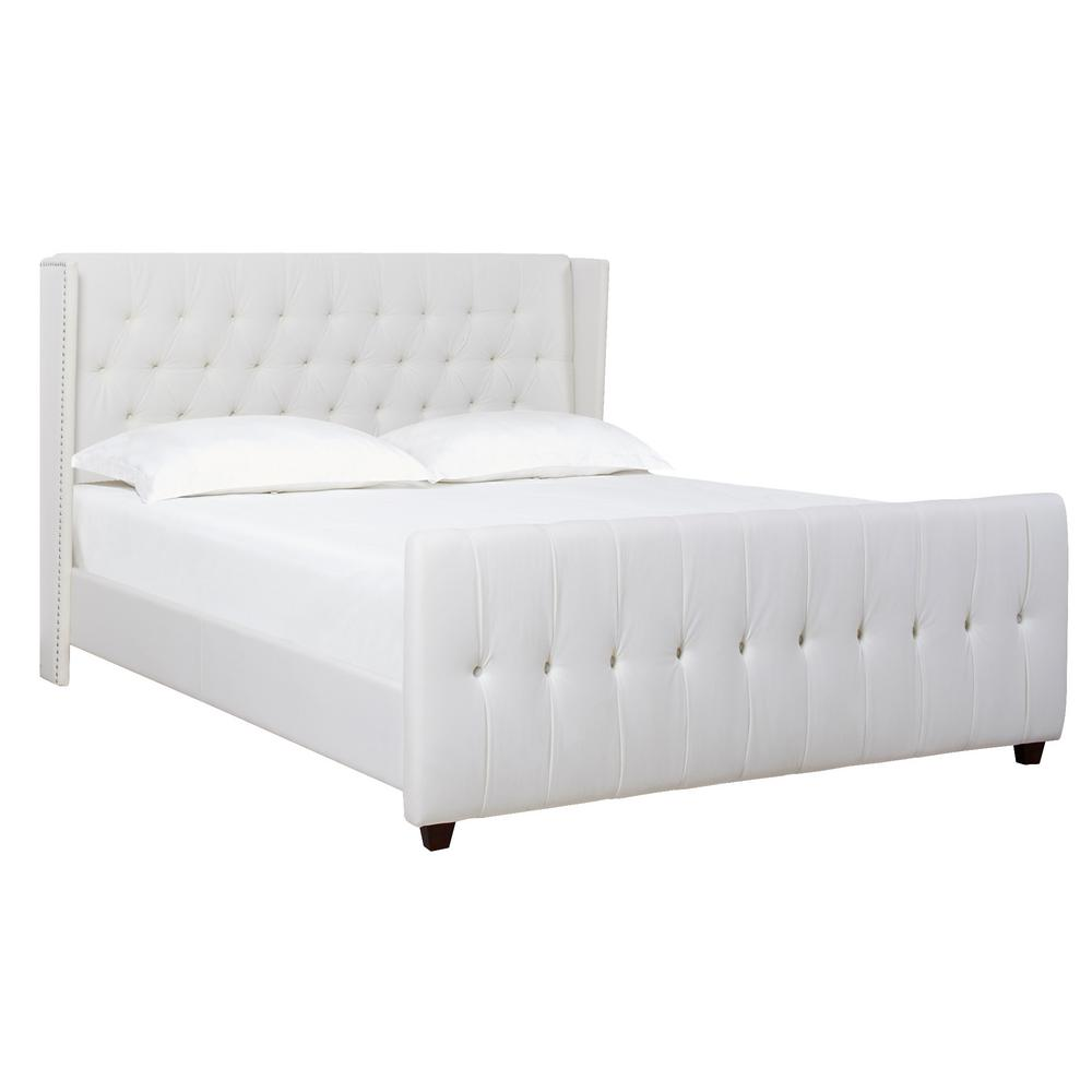 Antique White King David Upholstered Bed