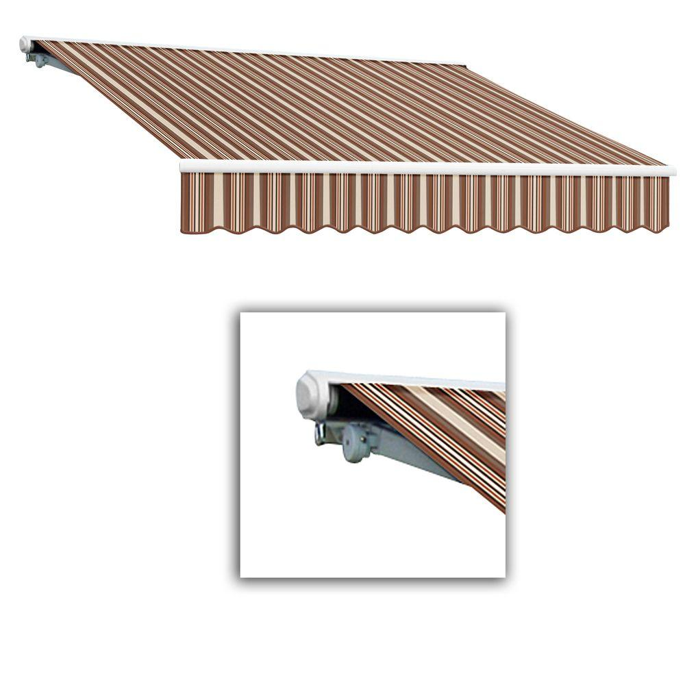 AWNTECH 14 ft. Galveston Semi-Cassette Left Motor with Remote Retractable Awning (120 in. Projection) in Brown/Terra