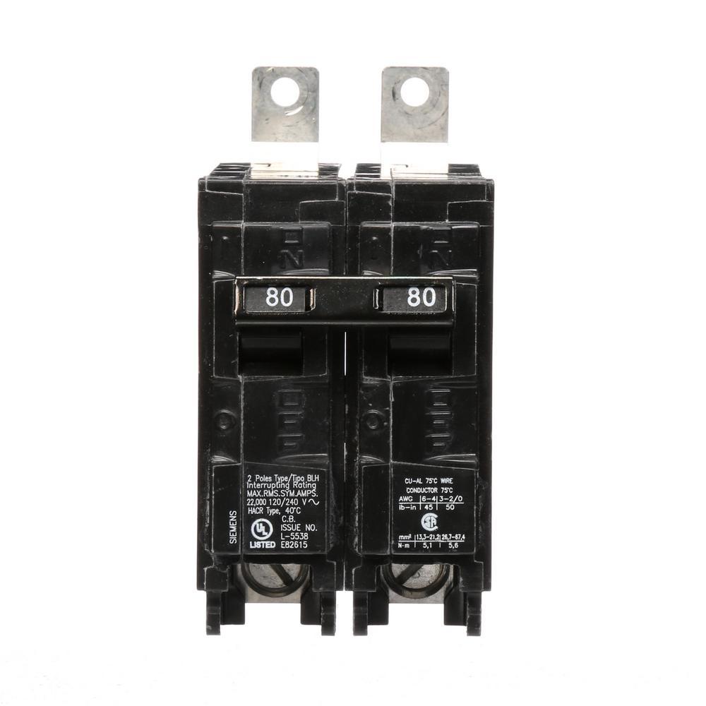 80 Amp 2-Pole Type BLH 22 kA Circuit Breaker