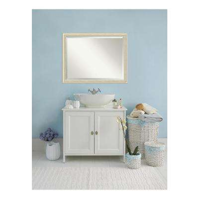 Country White Wash Wood 45 in. W 35 in. H Distressed Bathroom Vanity Mirror