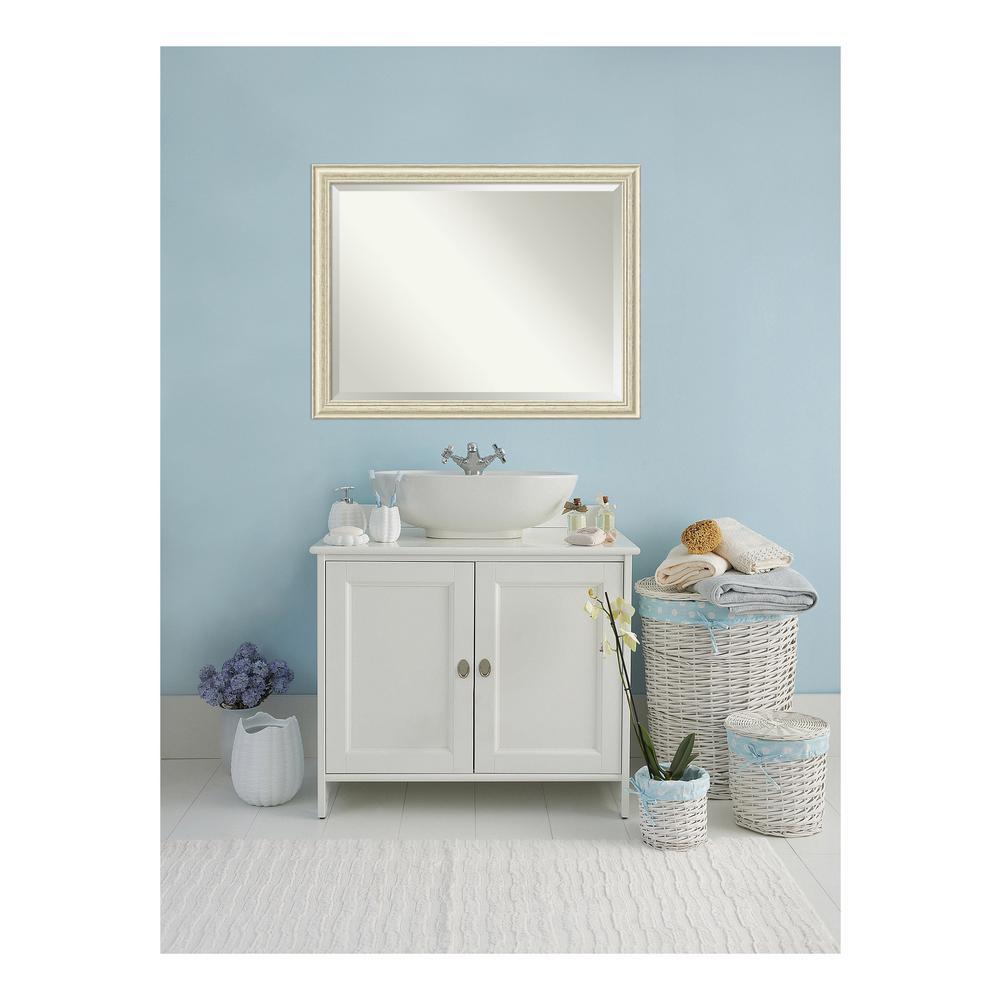Country 45 in. W x 35 in. H Framed Rectangular Beveled Edge Bathroom Vanity Mirror in Rustic Whitewash Cream