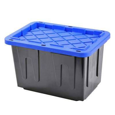 Heavy Duty - 23 Gal. Tote Black Bottom and Blue Snap Lid (4-Pack)