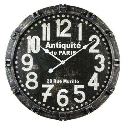 Antique De Paris Distressed Black Og Wall Clock