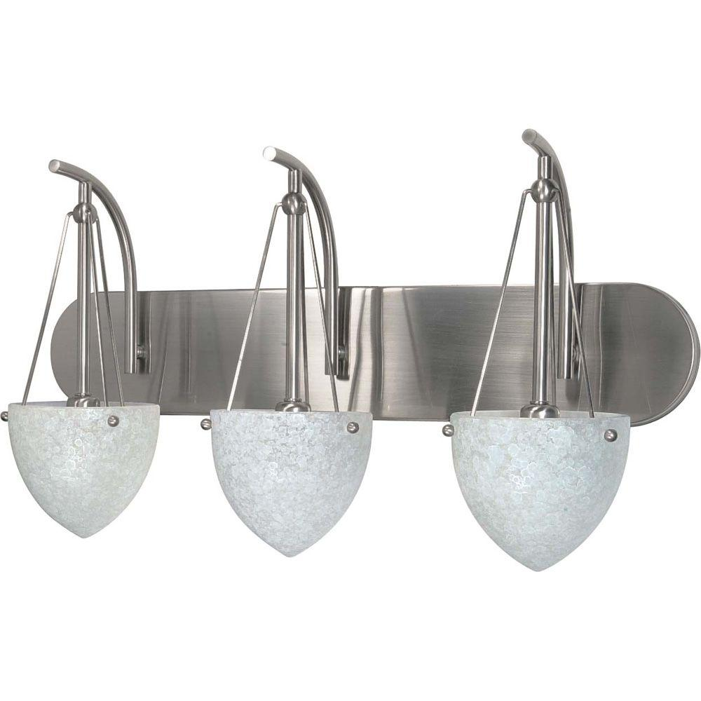 Glomar Elsa 3-Light Brushed Nickel Bath Vanity Light