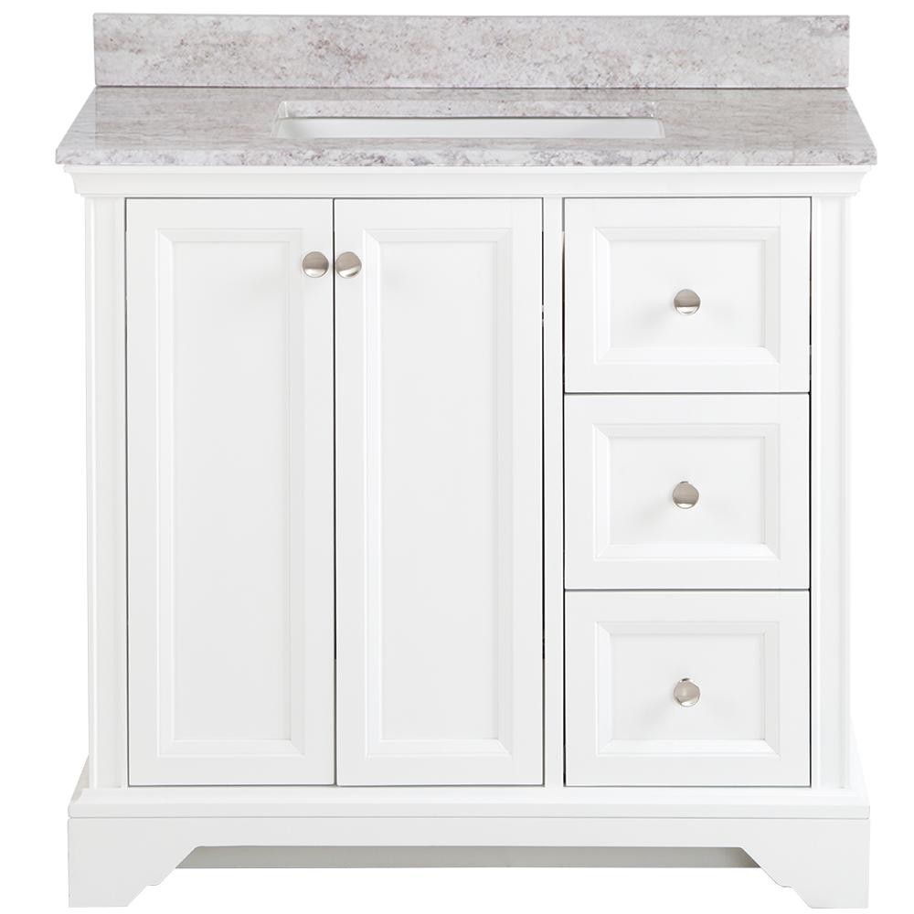 Home Decorators Collection Stratfield 37 in. W x 22 in. D Bathroom Vanity in White with Stone Effect Vanity Top in Winter Mist with White Sink