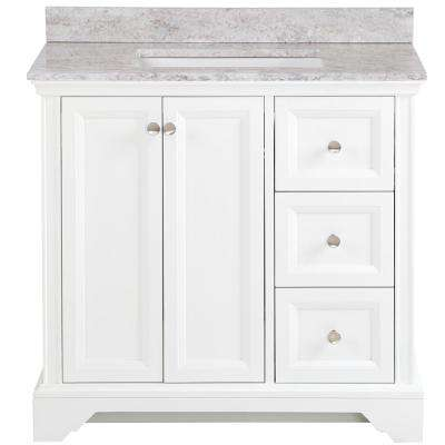Stratfield 37 in. W x 22 in. D Bathroom Vanity in White with Stone Effect Vanity Top in Winter Mist with White Sink