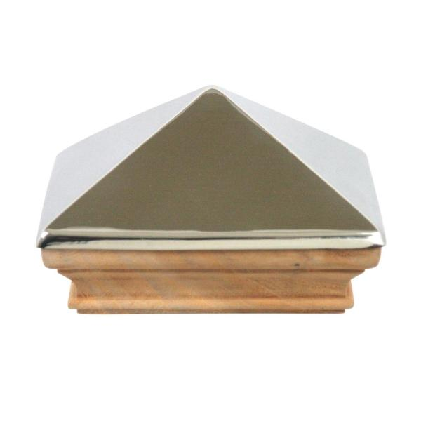 Miterless 6 in. x 6 in. Untreated Wood Slip Over Fence Post Cap with Stainless Steel Pyramid