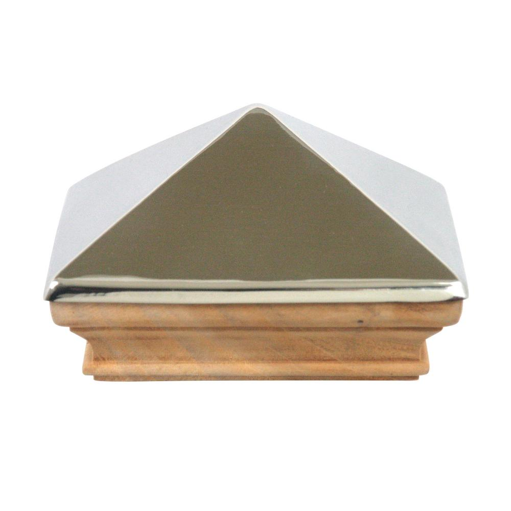 Protectyte Miterless 4 in. x 4 in. Untreated Wood Flat Slip Over Fence Post Cap with Stainless Steel Pyramid