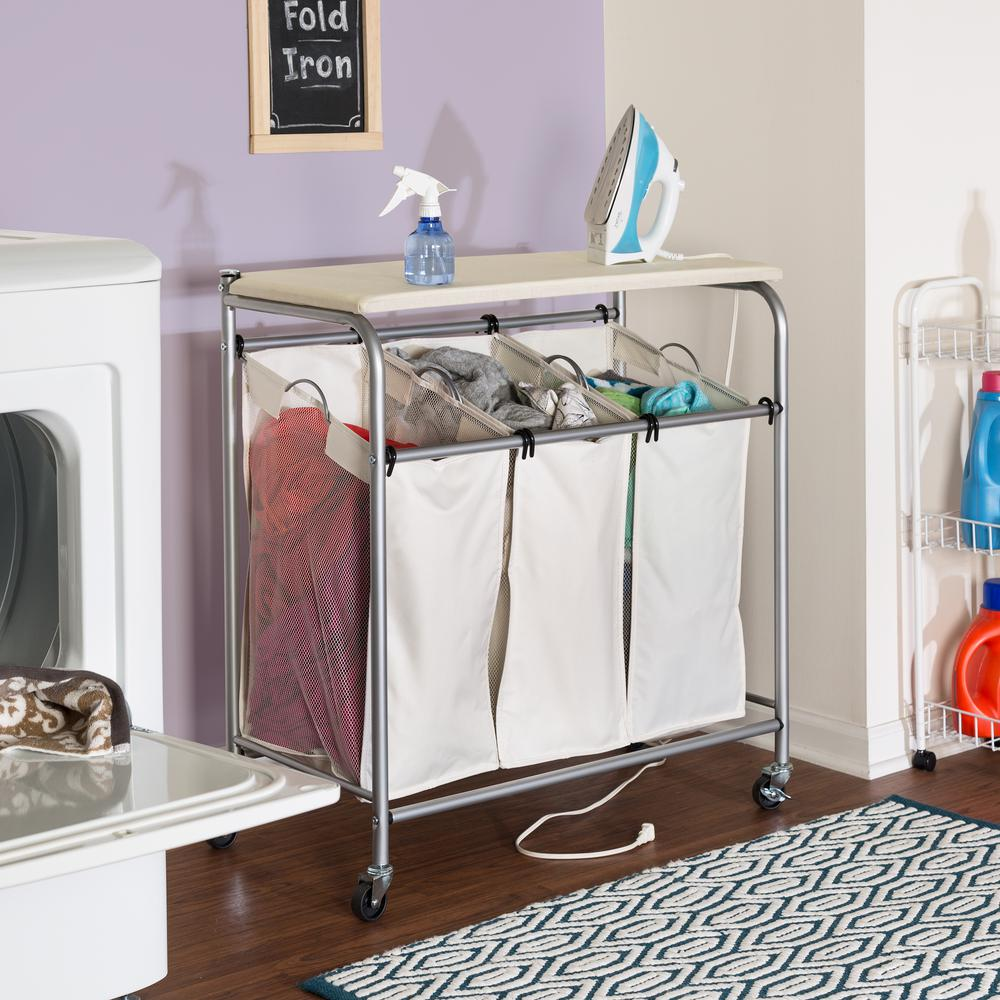 Honey Can Do Rolling Laundry Sorter With Ironing Board