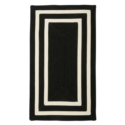 Griffin Border Black/White 5 ft. x 8 ft. Braided Indoor/Outdoor Area Rug