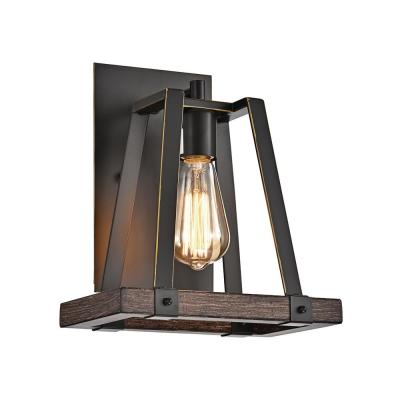 1-Light Wood and Oil Rubbed Bronze Wall Sconce