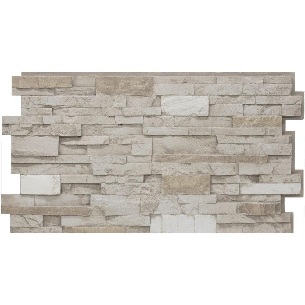 Urestone 24 in x 48 in stacked stone 45 almond taupe for Stone facade siding