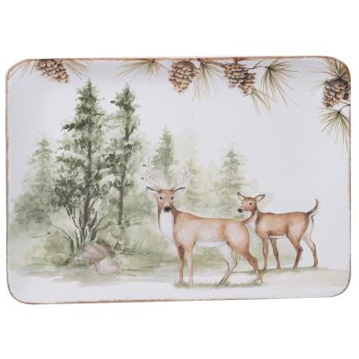 Mountain Retreat Multi-Colored 16 in. Earthenware Rectangular Platter
