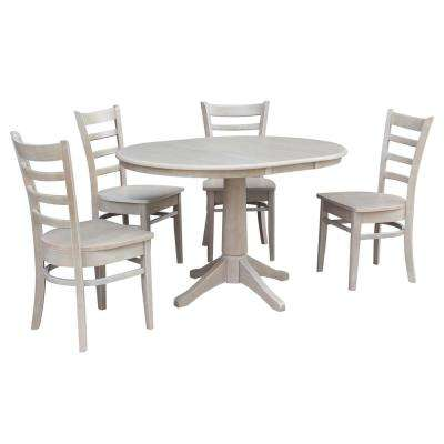 Olivia 5-Piece Oval Weathered Gray Dining Set with Emily Chairs