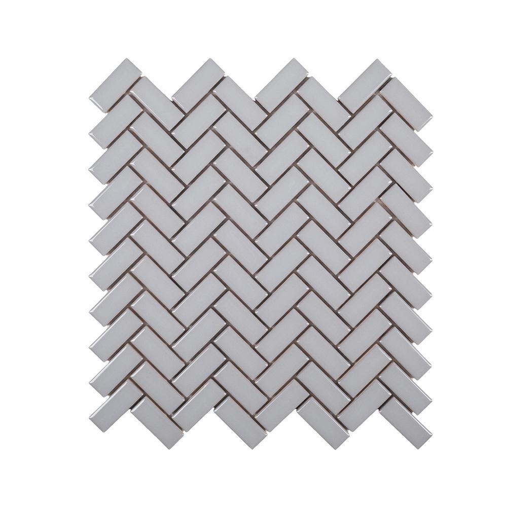 Wolfe Grey Herringbone 10.25 in. x 11 in. Glossy Ceramic Mosaic Tile