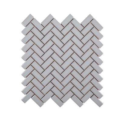 Wolfe Grey Herringbone 12.375 in. x 12.125 in. x 9.5 mm Ceramic Mosaic Tile