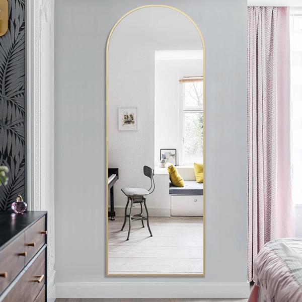 PexFix 65 x 22 Full Length Mirror Floor Mirror Stylish 45 /° Bevel Double Wooden Stitching Thin Frame Leaning Standing Wall Mounted Mirror Dressing Mirror Bedroom Mirror Black