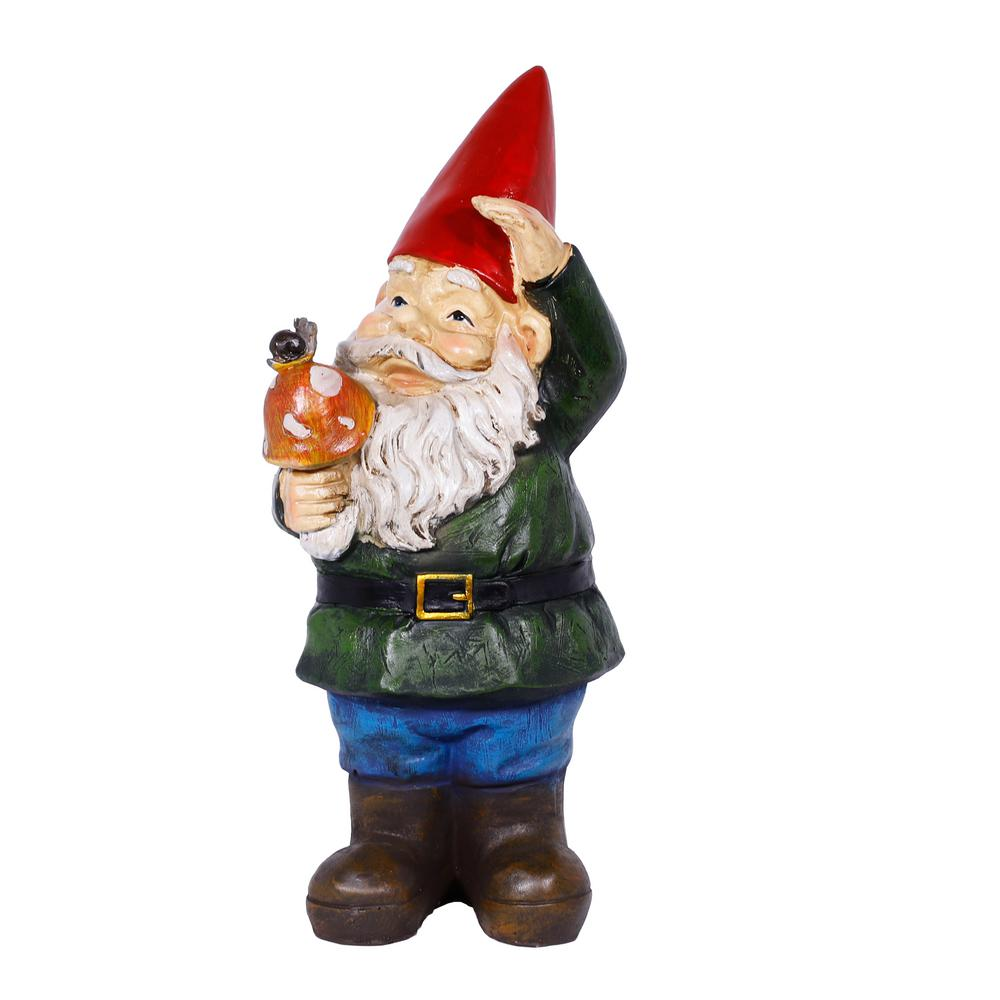 Gnome Holding A Mushroom Statue Wac408