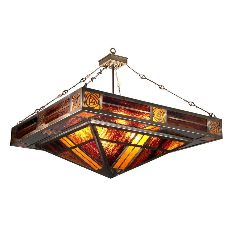 Illumine 8 Light Bungalow Inverted Pendant Antique Copper Finish Mica Glass