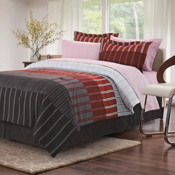 Brown & Grey Ombre Stripe Red 8-Piece Full Bed-in-Bag Set BG180180032