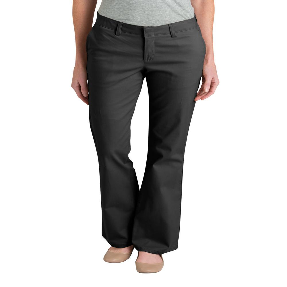 64a3a9ea9221 Dickies WoMen's 30 in. Black Slim Fit Boot Cut Stretch Twill Pants ...