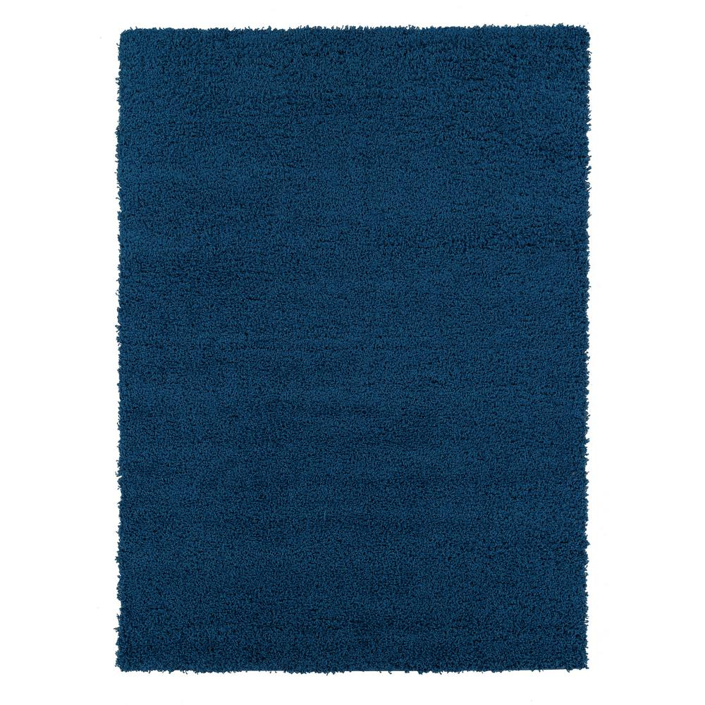Ottomanson Shag Collection Navy 5 ft. x 7 ft. Area Rug