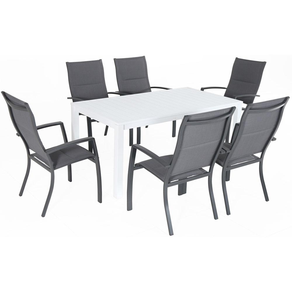 Magnificent Hanover Del Mar 7 Piece Aluminum Outdoor Dining Set With 6 Padded Sling Chairs In Gray And A 78 In X 40 In Dining Table Unemploymentrelief Wooden Chair Designs For Living Room Unemploymentrelieforg