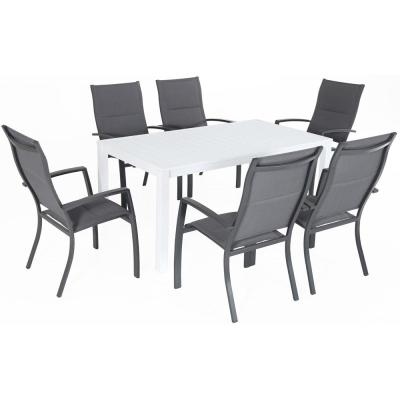 Del Mar 7-Piece Aluminum Outdoor Dining Set with 6 Padded Sling Chairs in Gray and a 78 in. x 40 in. Dining Table