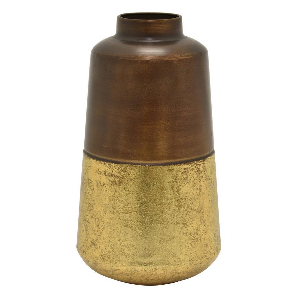13.75 in. Brown Metal Vase