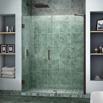 Unidoor 58 in. to 59 in. x 72 in. Semi-Framed Hinged Shower Door in Oil Rubbed Bronze