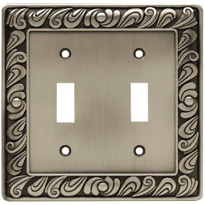 Pewter 2-Gang Toggle Wall Plate (1-Pack)