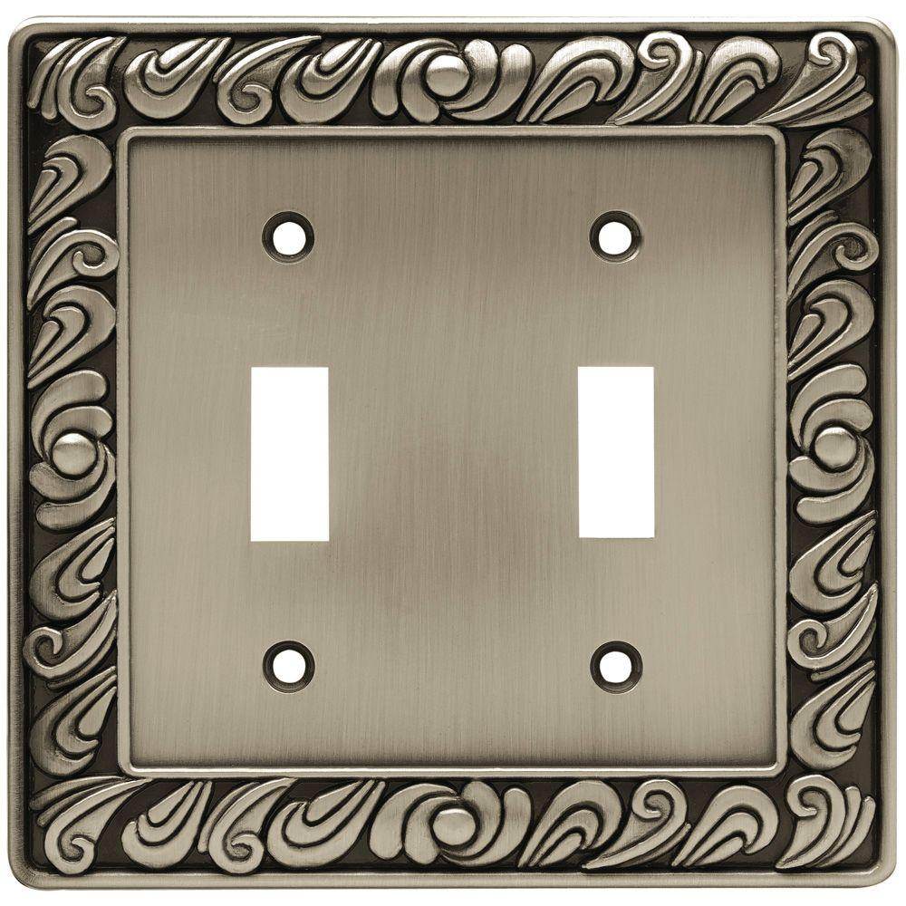 Paisley Decorative Double Switch Plate, Brushed Satin Pewter