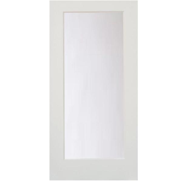 30 in. x 80 in. 1-Lite Satin Etch Primed Solid Core MDF Interior Door Slab