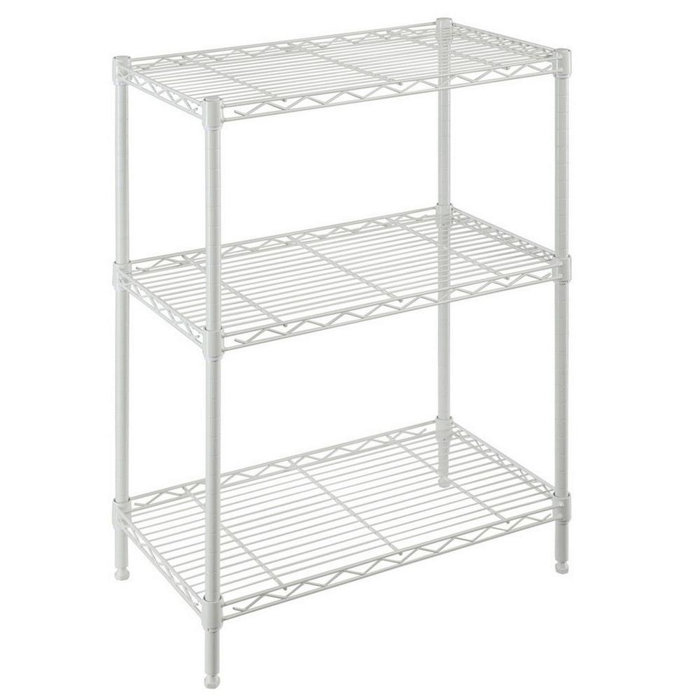 HDX 30 in. H x 24 in. W x 14 in. D 3-Shelf Wire Unit in Ivory ...