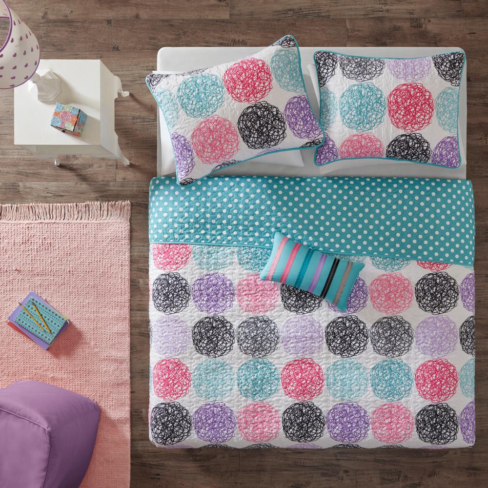 Mi Zone Audrina 3-Piece Purple Twin/Twin XL Print Coverlet Quilt Set