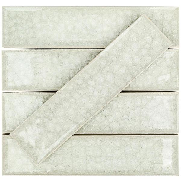 Roman Selection Iced Light Cream 2 in. x 8 in. x 9 mm Polished Glass Mosaic Wall Tile (36 pieces 4 sq.ft./Box)