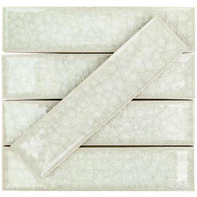 Roman Selection Iced Light Cream 2 in. x 8 in. x 9 mm Glass Mosaic Tile