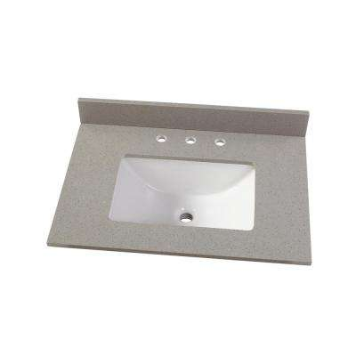 31 in. W x 22 in. D Engineered Quartz Vanity Top in Sterling Grey with White Single Trough Sink