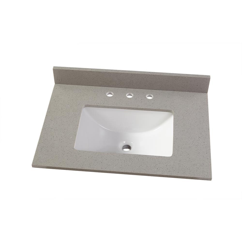D Engineered Quartz Vanity Top In Sterling Grey
