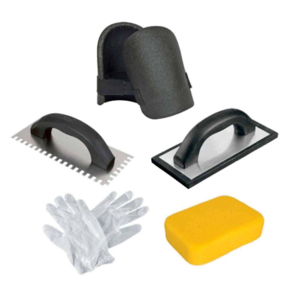 HDX Tile Installation Kit with Trowel, Float, Sponge, Knee Pads and Gloves