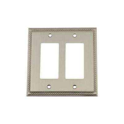 Rope Switch Plate with Double Rocker in Satin Nickel